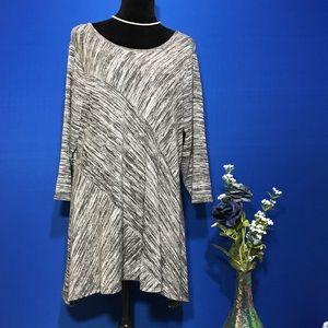 Dress Barn Gray Striped Asymmetrical Tunic